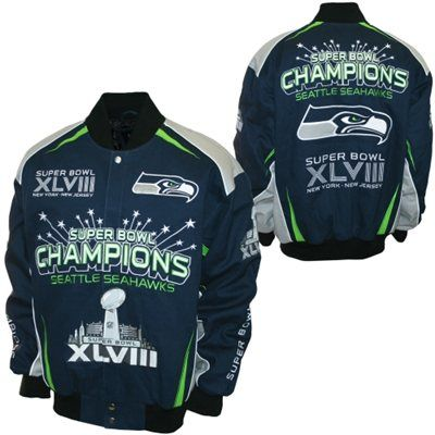 Seattle Seahawks Super Bowl Champions Jacket Leather Twill Cotton